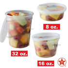 8oz 16oz 32 oz Round Plastic Deli Food Containers with Lids Microwavable Options