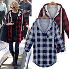New Women Long Sleeve Hooded Scottish Plaid Check Shirt Blouse Coat Outwear Tops