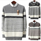 Mens Slim Fit Mix Waffle Striped Roundneck Crewneck Knit Sweater Jumper E098 S/M