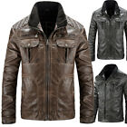 Cool Style~Mens Stylish Slim Fit Stand Collar Pu Leather Black Coats Tops XS-XL