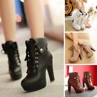 Winter Women's Lace Up Block High Heel Booties Lined Ankle Boots Shoes 729102