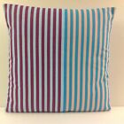 SINGLE CUSHION COVER TEAL MINK BURGUNDY BLUE STRIPES SAME FABRIC FRONT & BACK