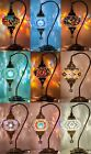 LARGE - Turkish Moroccan Mosaic Table Bedside Tiffany Swan Lamp Light White Blue