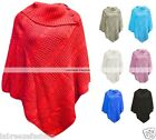 New Lady Womens Polo Neck Button Knitted Ponchos Wrap Shawl Jumper Top Plus Size