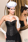 Sexy Satin Overbust Classic Printing Corset Lingerie Burlesque With Steel Busk