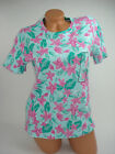 Basic Editions Womens T-Shirt Top Blouse Short Sleeve Pink Green Floral NEW
