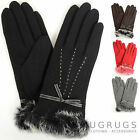 Ladies / Womens Warm Wool Gloves with Fur Trim & Attractive Bow / Stitch Design