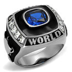 Champions World Blue Sapphire Spinel Silver Stainless Steel Mens Ring