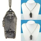 Gothic Bat Cross Halloween Coffin Locket Pendant Sweater Necklace Jewelry New