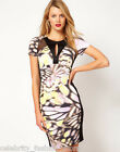 Karen Millen Black Wing Print Bodycon Pencil Cocktail Evening Dress 12 40