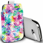pu leather pull tab pouch case for majority Mobiles - tropical pineapple pouch