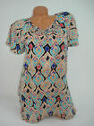 White Stag Womens Blouse Shirt Top Short Sleever Geometric Macrame NEW
