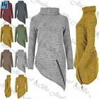 Womens Baggy Jumper Ladies Oversize High Neck Long Sleeve Side Slant Knitted Top