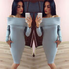 Sexy Women Off Shoulder Long Sleeve Bodycon Bandage Party Evening Mini Dress New