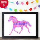 Personalised Word Art HORSE Print Birthday Christmas Thank You Gift Present