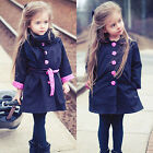 Kids/Child Fashion Tops Girl Trench Coat Baby Cute Outwear Wind Jacket 2-7Y Blue