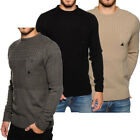 Soulstar Cable Knitted Chest Pocket Jumper  mens Size