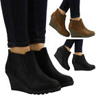 WOMENS LADIES GRIP SOLE CHELSEA MID LOW HEEL WEDGE OFFICE ANKLE BOOTS SHOES SIZE
