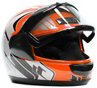 Snowmobile Helmet Adult Orange Black Gray Dual Lens DOT