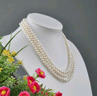Natural 3row 6-7/7-8/8-9MM WHITE NATURAL PEARL NECKLACE(3size can choose)jewelry
