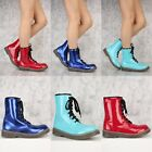 Womens Blue Red ROUND CLOSED TOE FRONT LACE UP Mid CALF F...
