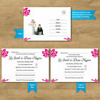 Personalised Pink Wedding RSVP Cards Invites Ball & Chain With 12 Colour Options