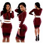 Womens Two Pieces Fashion Dress Long Sleeve Short Tops + Slim Bodycon Skirt - CB