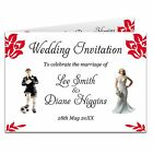 Double Sided & Folded Day Or Evening Wedding Invitations Football Bride & Groom