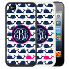MONOGRAMMED RUBBER CASE FOR iPHONE 5 5S 5C SE 6 6S 7 PLUS HOT PINK BLUE WHALES