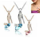 Delicate Women Crystal Gold/Silver Plated Chain  High Heel Shoe Necklace Pendant