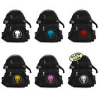 Vintage Army Style Black Canvas Backpack Bag w/ Punisher Skull Ring Logo