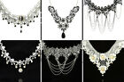Victorian Vintage Lace Crystal Choker Necklace Gothic Black / Bridal Ivory Party