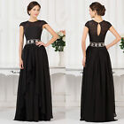 Long LACE Wedding dress Bridesmaid Evening Prom Ball Gown Formal Dresses UK 6-20