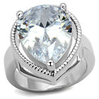 10ct Large Pear Shape CZ Stone Silver White Gold Plated Ladies Ring