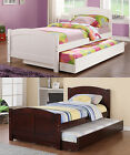 Contemporary Lovely White Cherry Wooden Youth Kids Twin Panel Bed w Trundle