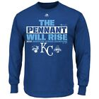 "Kansas City Royals MAJESTIC 2015 World Series ""PENNANT"" Long Sleeve Blue T Shirt on Ebay"