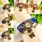 Fashion Women Vintage Butterfly Pendant Bracelet Faux Leather Quartz Wrist Watch