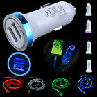 led light car charger usb cable
