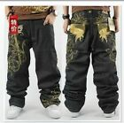 Graffiti embroidery Cool Men's Hip Hop Jeans Casual Pants Size 42