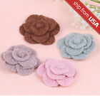 US Retro Vintage Style Fabric Rose Flower brooch Pin Hair Clip corsage