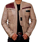 Mens Star Wars Finn Jacket John Boyega Antique Beige Real Leather Jacket