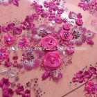 Pink and other 9 colors 3D rose handmade high quality lace fabric by the yard