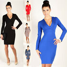 Long Sleeve V Neck Office Work Professional White Collar Formal Career Dress New