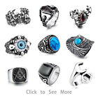 316L Stainless steel steam men punk ring gothic rings cool skull Men's Jewelry s