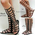 New Women JCn2 Black Tan Gold Studded Strappy Gladiator Knee High Tall Sandals