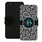 PERSONALIZED WALLET CASE FOR iPHONE X 8 7 6 5 5C SE PLUS BLACK PAISLEY TEAL