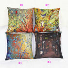 Decorative Home Oil Painting Birds Cotton Linen Cushion Cover Throw Pillow Case