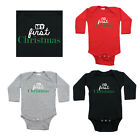 Crazy Baby Clothing My First Christmas One Piece Long Sleeve Bodysuit