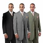 Men  s 3 Piece Luxurious Wool Feel 4 Button Suit with Pants and Vest 5263 38R 56L