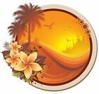 Floral tropical sunset decal Camper RV motor home mural graphic